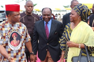 Chief Willie Obiano, Governor of Anambra State, former President Yakubu Gowon and his wife Victoria arriving the venue of the Honours & Tributes Ceremony for Prof. Dora Akunyili in Awka...Wednesday