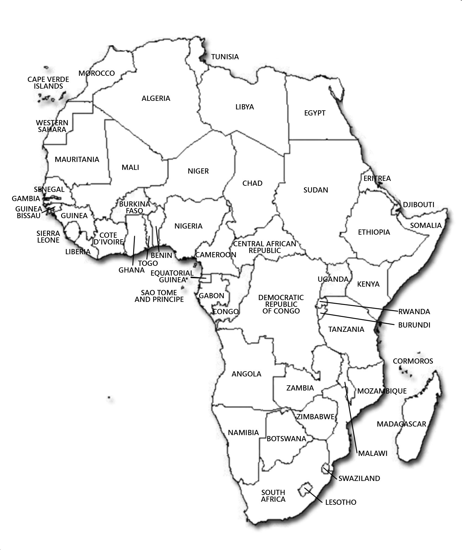 africa map with countries black and white