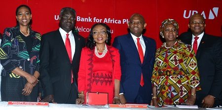 Director, UBA Plc, Mrs. Onari Duke; Group Managing Director, UBA Plc Mr. Phillips Oduoza; Director, UBA Plc, Mrs Rose Okwechime; Chairman, United Bank for Africa Plc, Mr. Tony Elumelu; Director, Mrs Foluke Abdulrasaq, and Group Managing Director Designate, Mr. Kennedy Uzoka at the 54th Annual General Meeting of the Bank held in Lagos on Friday