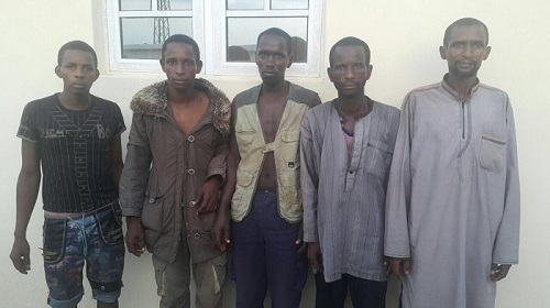 PIC 1: SUSPECTED HERDSMEN WHO ATTACKED NIMBO COMMUNITY IN ENUGU STATE FROM L - R: Mohammed Zurai 'm', Ciroma Musa 'm', Sale Adamu 'm', Suleiman Laute 'm', and Haruna Laute 'm'.